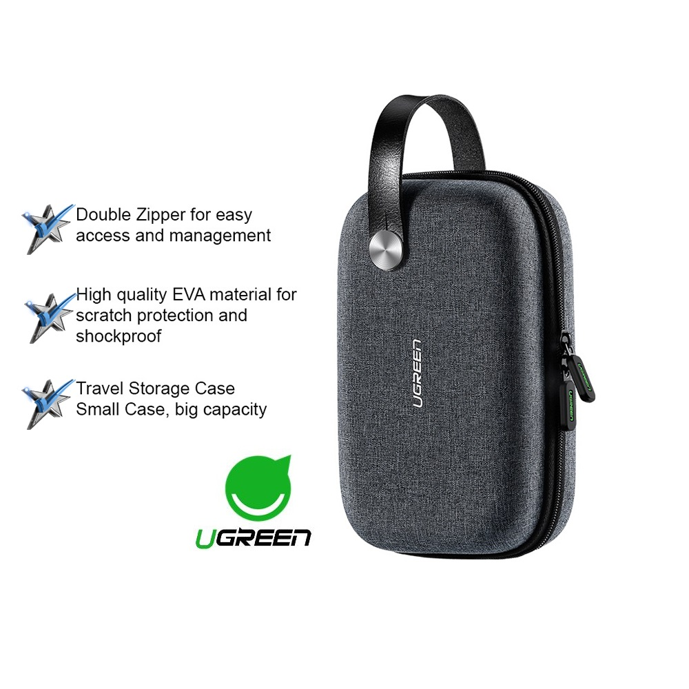 UGREEN Hard Disk Powerbank Storage Bag Travel Storage Case Waterproof Storage USB Cable Adapter Accessories Organizer