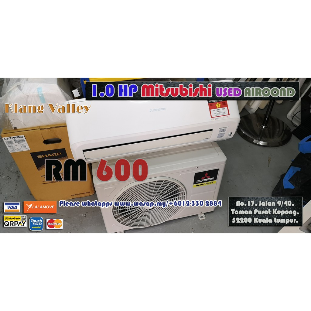 1.0HP Wall Type Mitsubishi Used Aircond / Second-hand / Klang Valley / Non-inverter type / R22