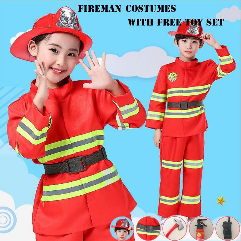 Fireman Coat Firefighter Black Fancy Dress Up Halloween Adult Costume Accessory