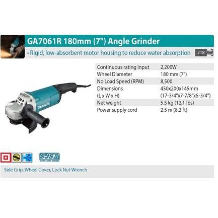 """MAKITA GA7061R 2200W 180MM 7"""" LARGE ANGLE GRINDER CUTTER GRINDING CUTTING"""