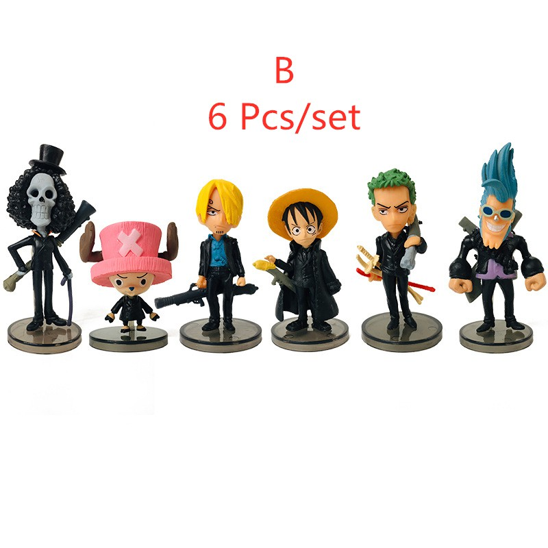 6 Pcs One Piece Q Version Luffy Zoro Chopper Figures PVC Toys cake toppers gifts