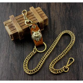 Mens Teens Brass Vintage Motorcycle Biker Wallet Box Chains Jeans key chain