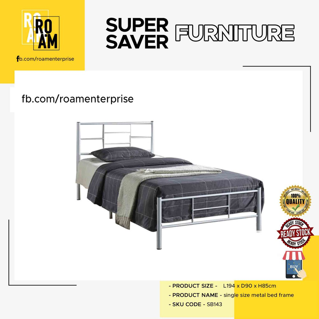 SB143 SINGLE SIZE METAL BED FRAME 2 coloe -COPPER or white