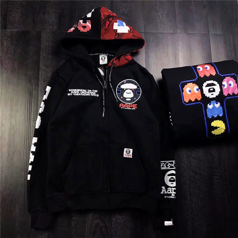 A Bathing Ape Pac Man Mosaic BAPE Hoodie Pullover Drawstring Hooded Sweats