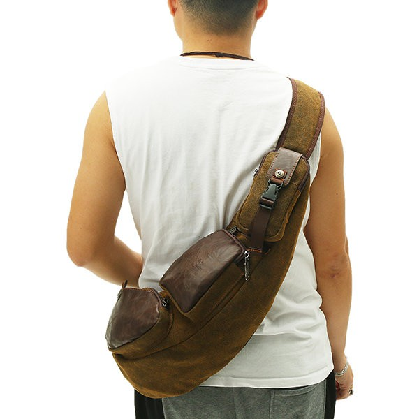 c97277c1e043 Men Canvas Travel Hiking Riding Crossbody Shoulder Bag Sling Chest Casual  Bag