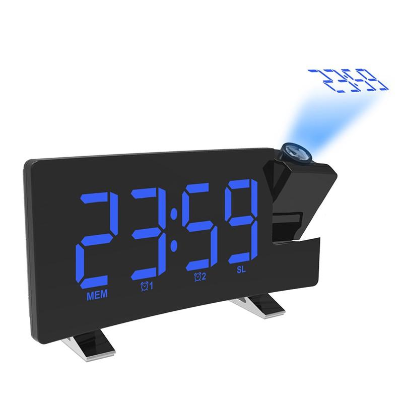 Digital Alarm Clock Projector for Bedroom Projection Alarm Clock Snooze Timer Temperature LED Display USB Charging 180 Degree Table Wall FM Radio Clock