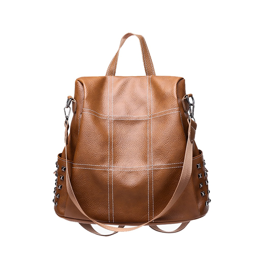 7707cef1ab2 Women Backpack PU Leather Shoulder Bag Anti-theft Rucksack Casual Satchel  Fashion Travel Backpack Waterproof Women Purse