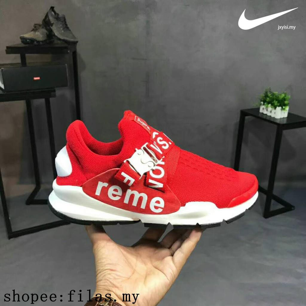 best service a3ca4 fba10 Official Original Supreme x Nike Sock Dart men metal Red couple shoes size  36-45