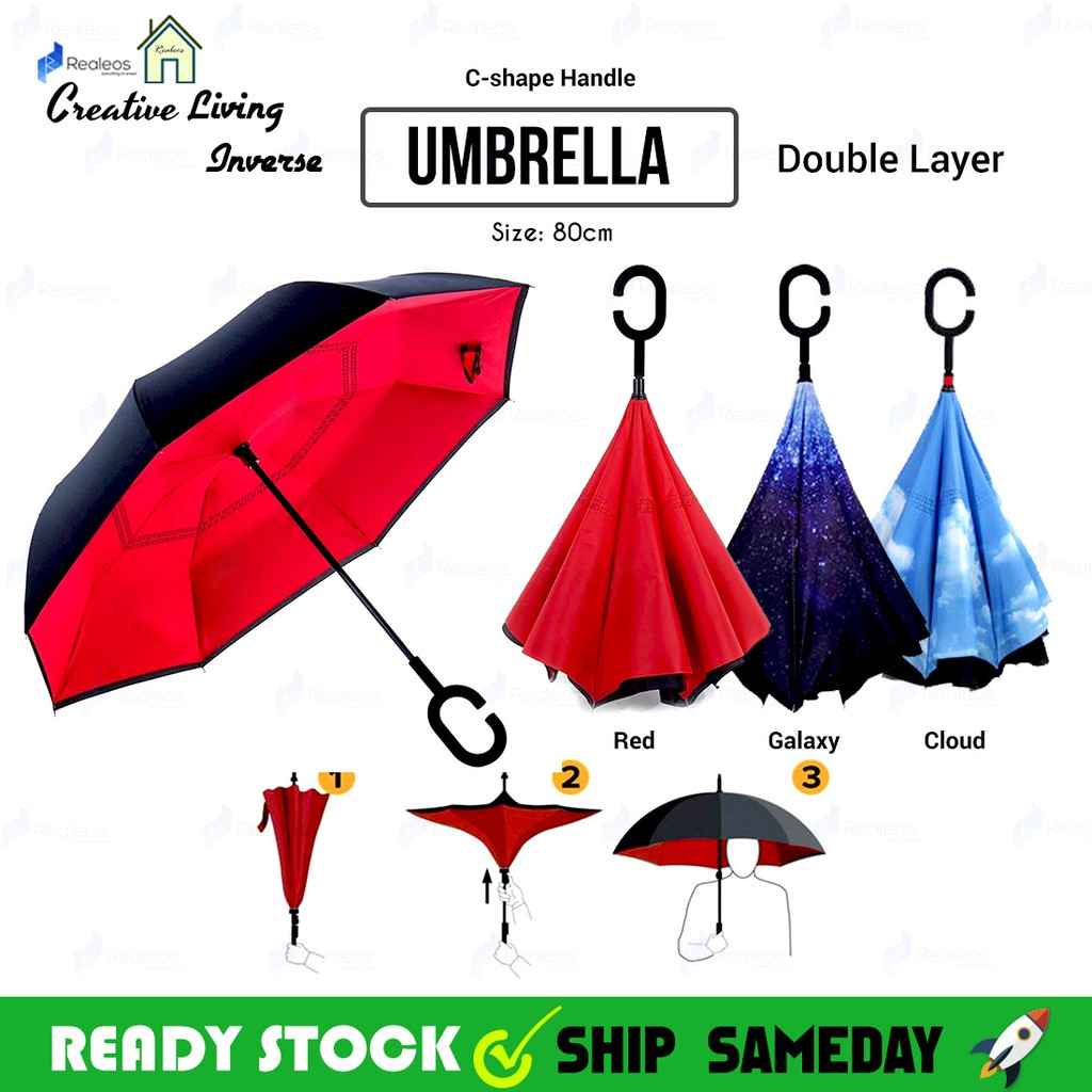 8fed10cec22b Realeos Inverted Reverse Double Layer Umbrella with C-Hook R790