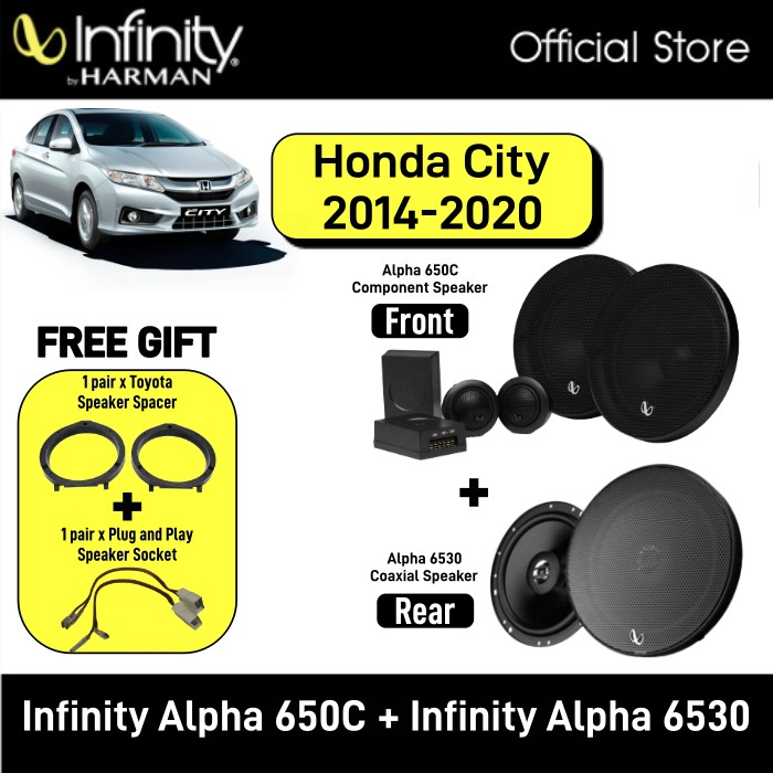 Infinity Alpha 650C 6.5inch 2-Way Component System + Infinity Alpha 6530 6.5 3-Way Speaker Package Honda City