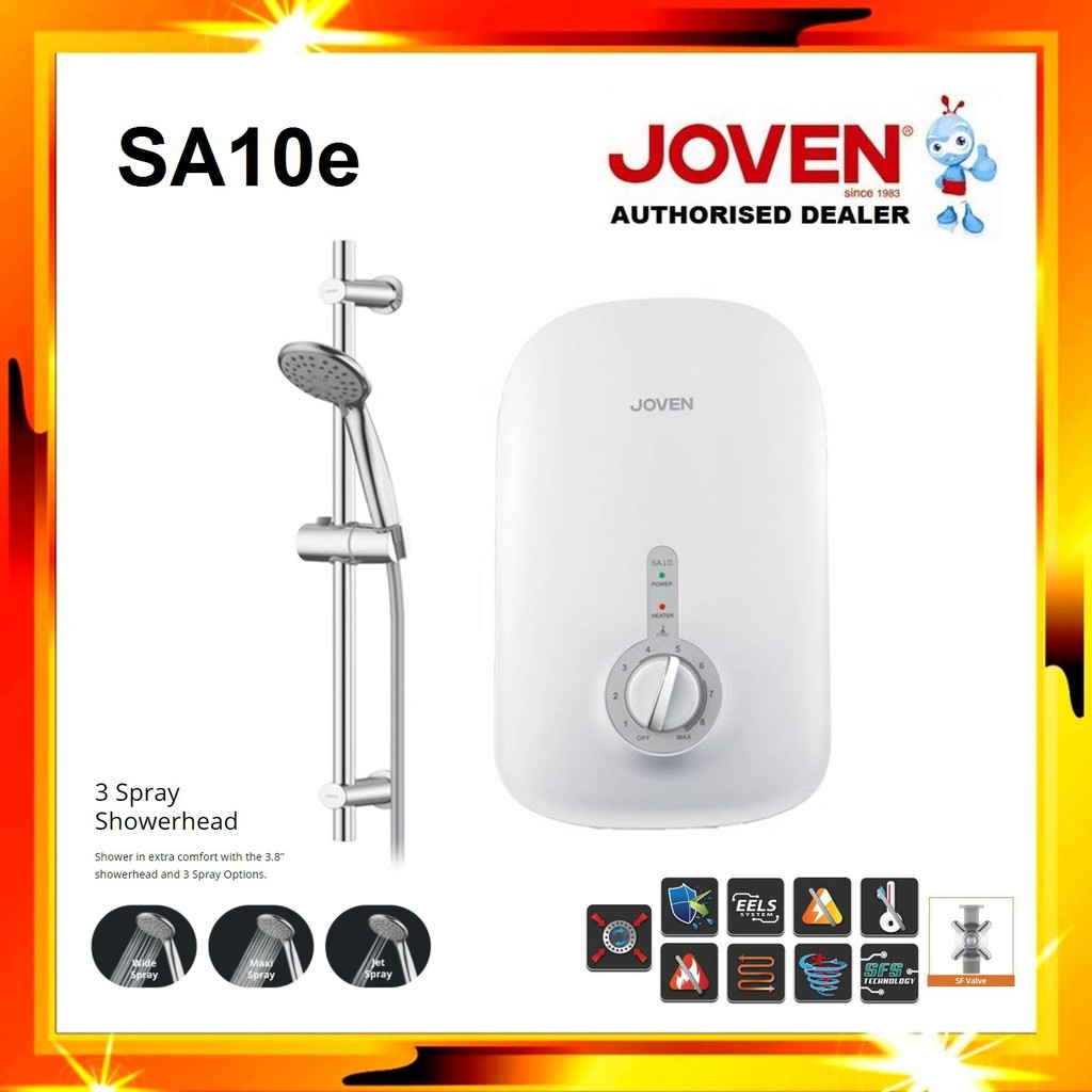 JOVEN SA10e Instant Water Heater (No Pump) with 3 Spray Shower Head