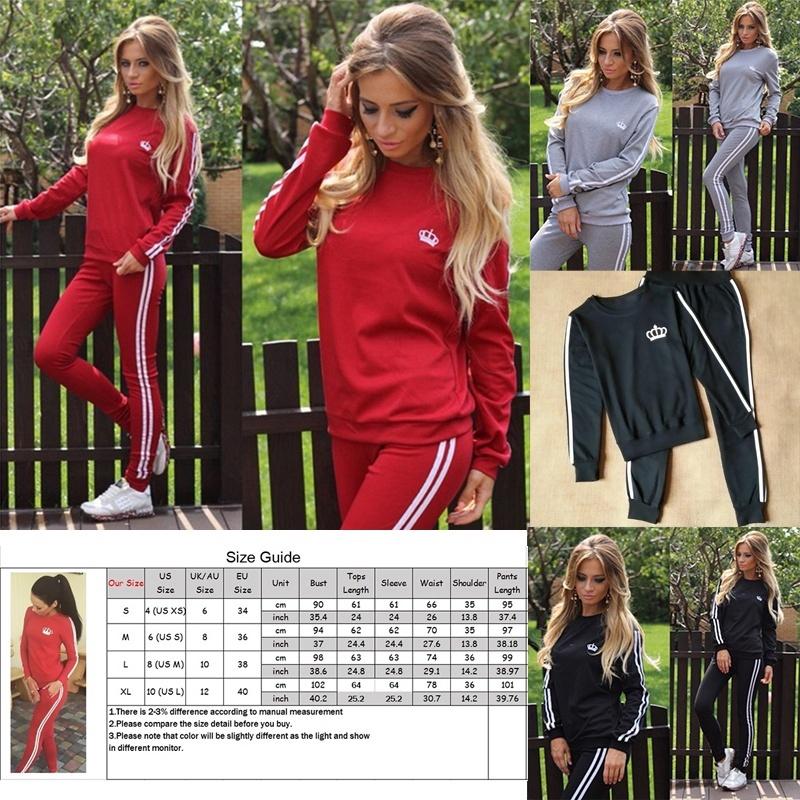 Women/'s Tracksuit 2Pcs Autumn Casual Sport Top Sweatshirt Track Pants Sweat Suit