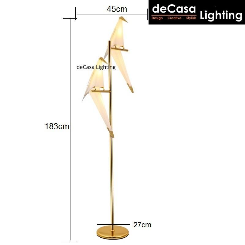 DECASA LIGHTING LED Bird Design Stand Lamp Bedside Lamp Creative Origami Paper Crane Floor Lamp Lampu Lantai (5081)