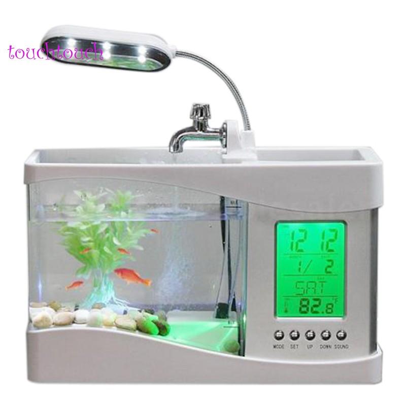 Aquarium Multifunctional USB Rechargeable Desktop Electronic Aquarium Mini Fish Tank with Water Running Pump Calendar Clock Function LED Light Pen Holder White