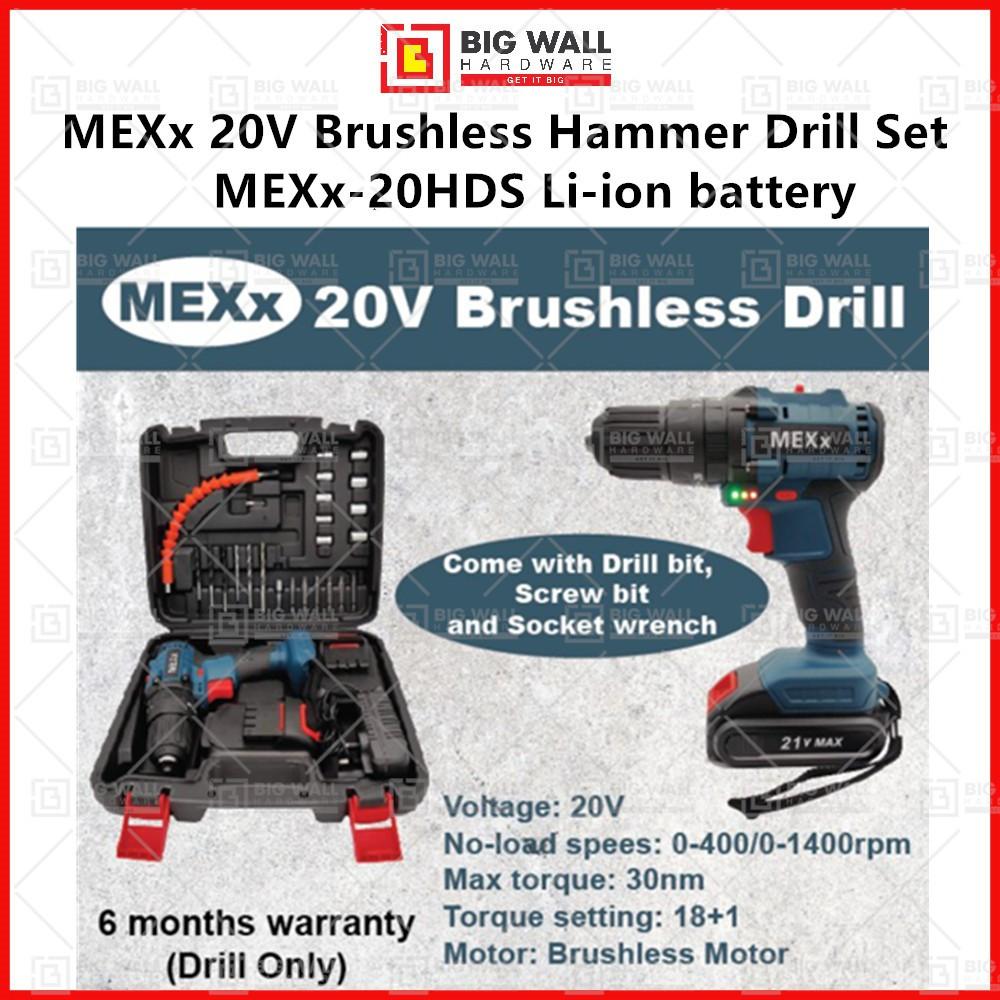 MEXx 20V Brushless Hammer Drill Li-ion battery (Set) MEXx-20HDS Big Wall Hardware