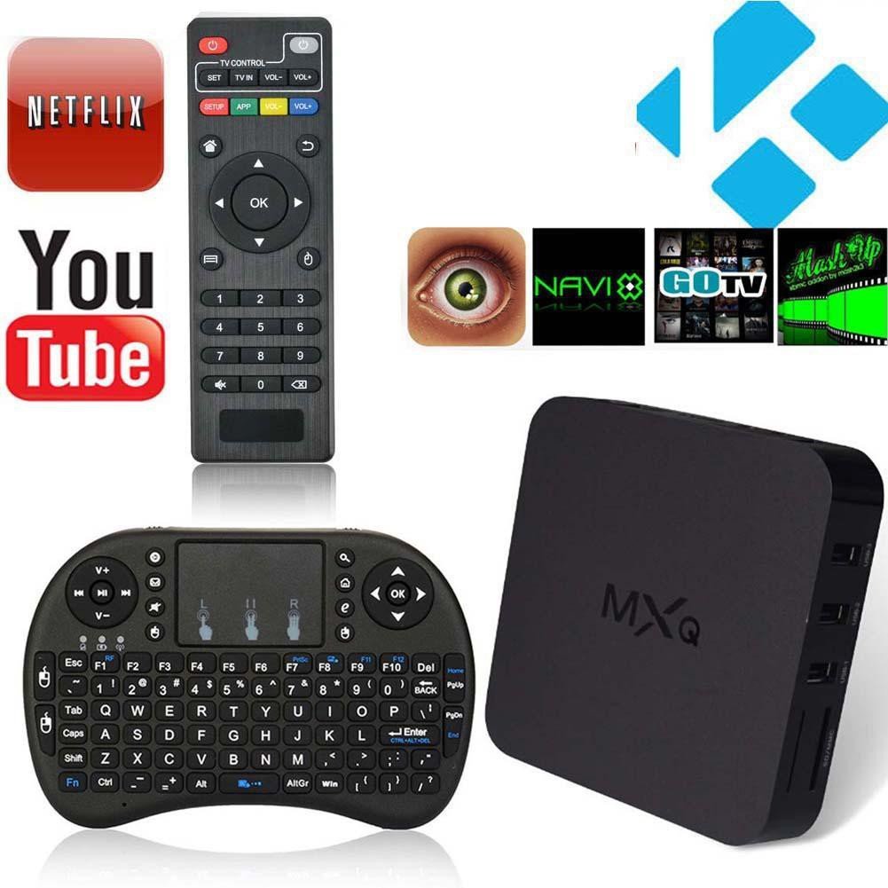 MXQ Quad Core Android 4 4 4K 8G TV Box Fully Loaded XBMC + Wireless Keyboard
