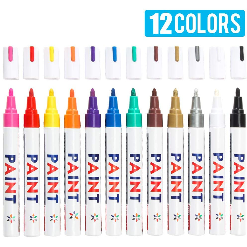 DIY Craft Plastic Wood Mugs Glass Oil-Based Waterproof Paint Marker Pen Set for Rocks Painting Canvas Fabric Paint Pens Paint Markers on Almost Anything Never Fade Quick Dry and Permanent