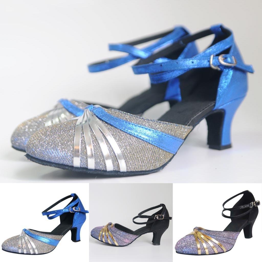 a0c4646a15 Mid-High Heels Glitter Dance Shoes Women Ballroom Latin Tango Rumba Dance  Shoes