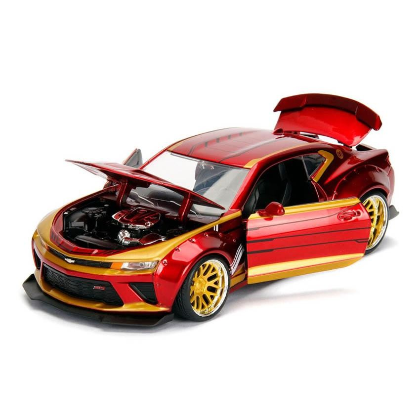 JADA 1:24 HOLLYWOOD RIDES METAL DIE CAST MARVEL AVENGER 2016 CHEVROLET CAMARO SS (RED) W/IRON MAN FIGURE MODEL COLLECTIO