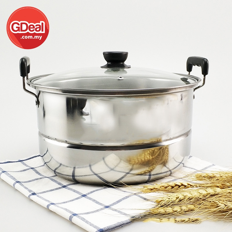 GDeal Stainless Steel Single Layer Kitchen Steamer Multipurpose Steam Pot Cooking With Glass Lid