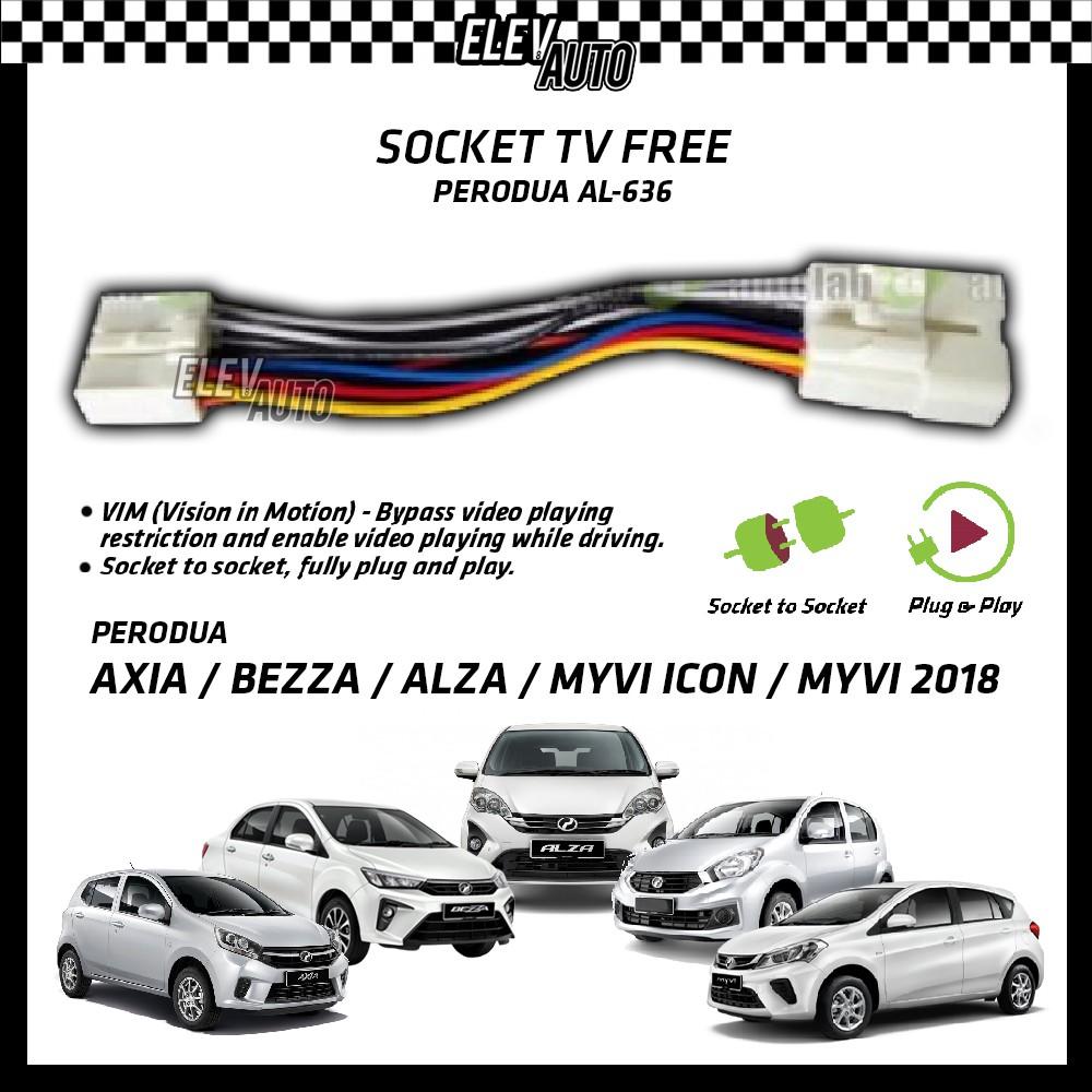 Perodua Axia / Bezza / Alza / Myvi Icon / New Myvi 2018-2021 Socket TV Free (Bypass VIM) AL-636