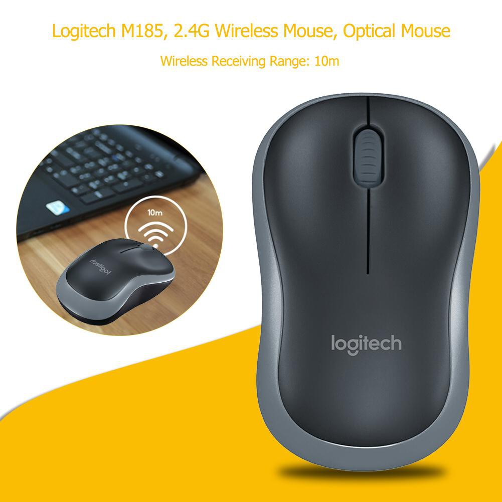 New☆Logitech M185 2 4G Wireless Mouse Optical Mouse w/ USB Nano Receiver  for PC