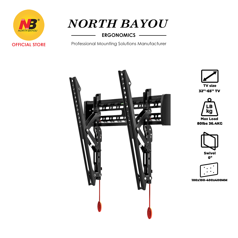 "NB North Bayou NBC2-T Adjustable Tilt Angle TV Wall Mount Slim & Stable Bracket Fit 32"" to 65"" LCD LED Flat Panel TV"