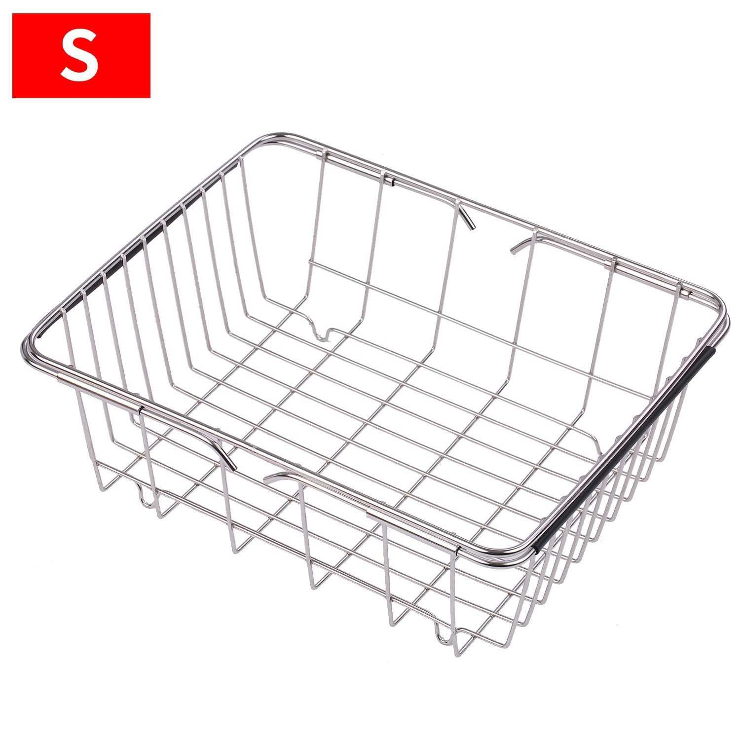 Dish Sink Rack Over Sink Drying Bowl Holder Stainless Steel Vegetables Washing Basket Kitchen Shelf Cutlery Drainer (Si