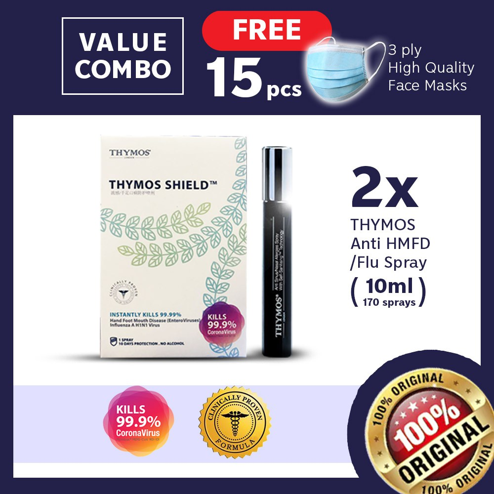 【Clinical Proven AirShield FREE 15 Face Cover】2x 10mL Thymos- H1N1, Corona, HFMD