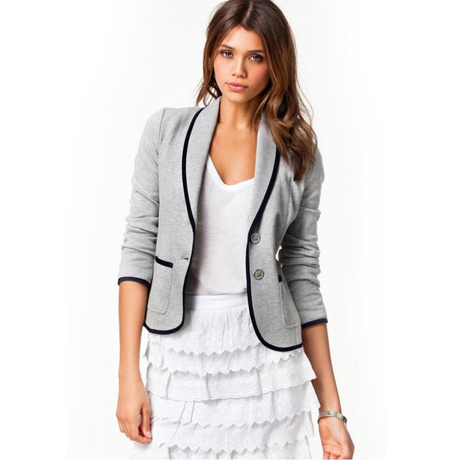 Korean Style Women Gray Long Sleeve Blazer Casual Coat Casual Jacket Suit
