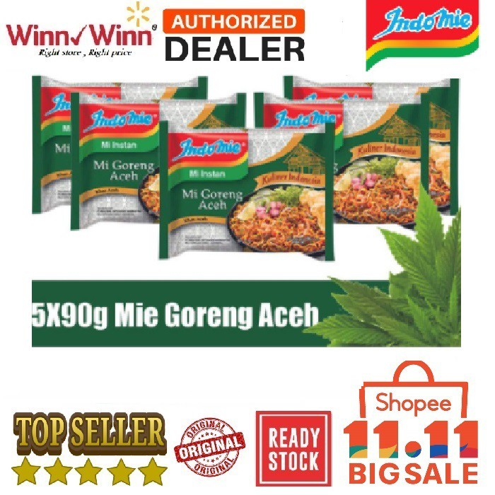 [ PACKAGE 5 PCS ]★INDOMIE GORENG ACEH★MI INSTANT★NOODLE★NO 1 IN INDONESIA★