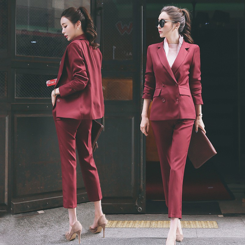 pretty nice extremely unique clear and distinctive Women 2 Piece Business Double Breasted Blazer Suit Set Long Sleeve Pant  Suits