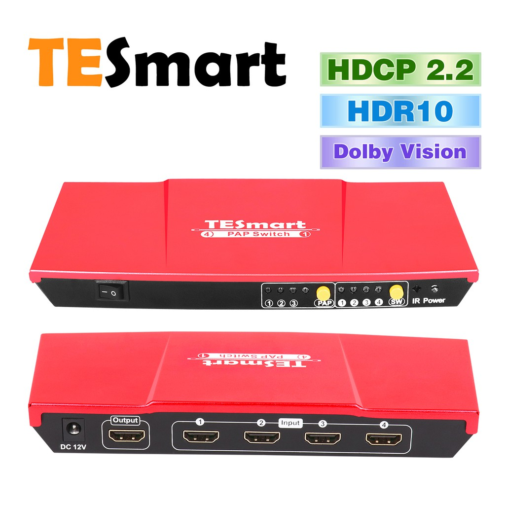 TESmart 4x1 HDMI Switch 4 In 1Out,Intelligent 4 Port HDMI  Switcher,resolutions up to 1080P@60Hz Compliant with HDCP 1 3