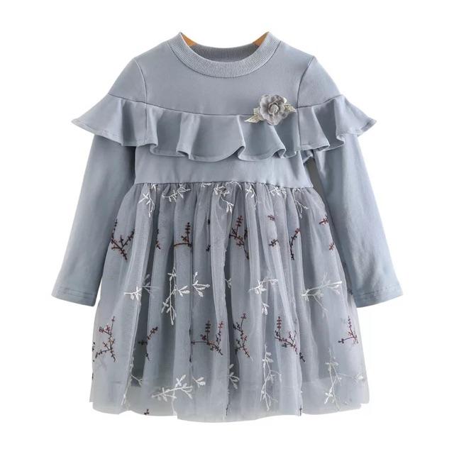 [90cm~130cm]Girl Fashion Korean Long sleeve lace princess dress 女童拼接连衣裙秋季新款时尚公主裙儿童长袖蕾丝纱裙童装