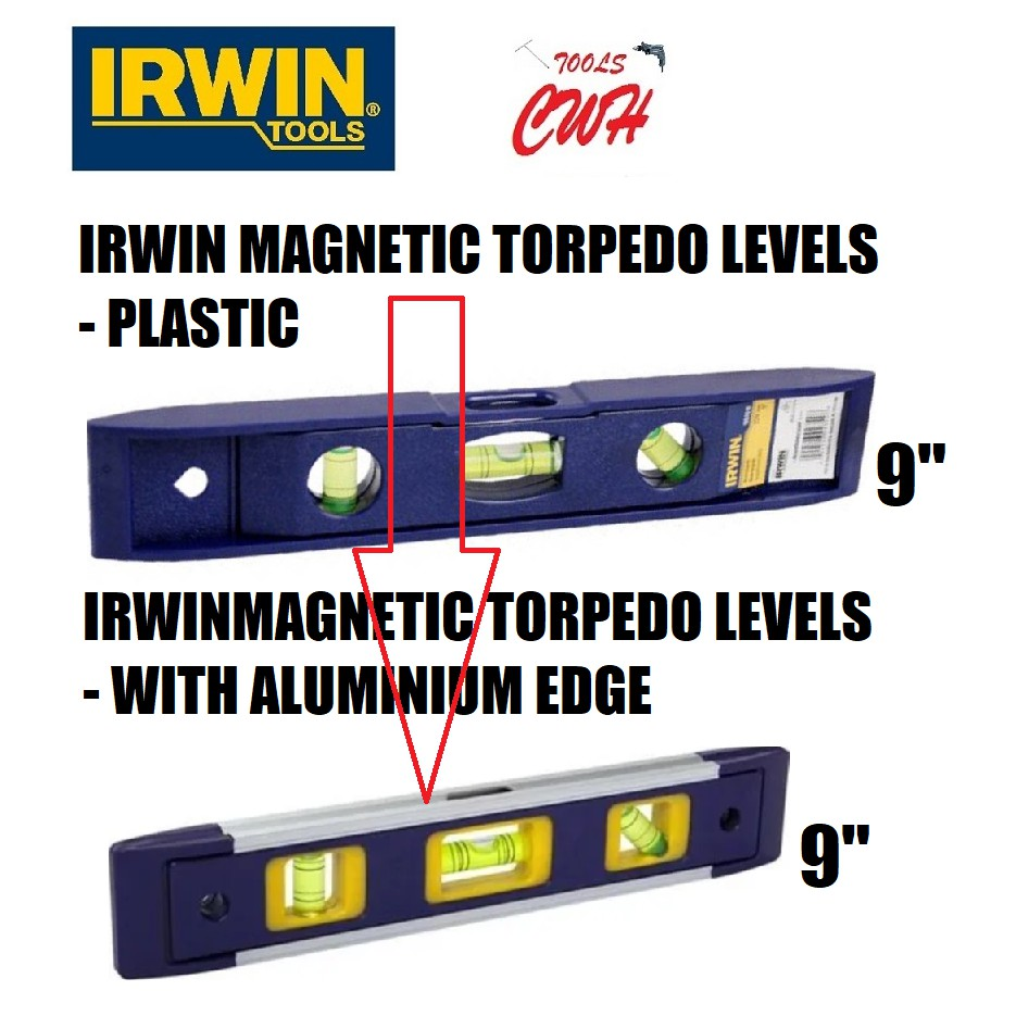 "9"" IRWIN MAGNETIC TORPEDO WATER LEVEL WATER LEVEL MEASUREMENT CENTER SPIRIT LEVEL STANLEY WATELY ASAKI TOTAL BESTIR"