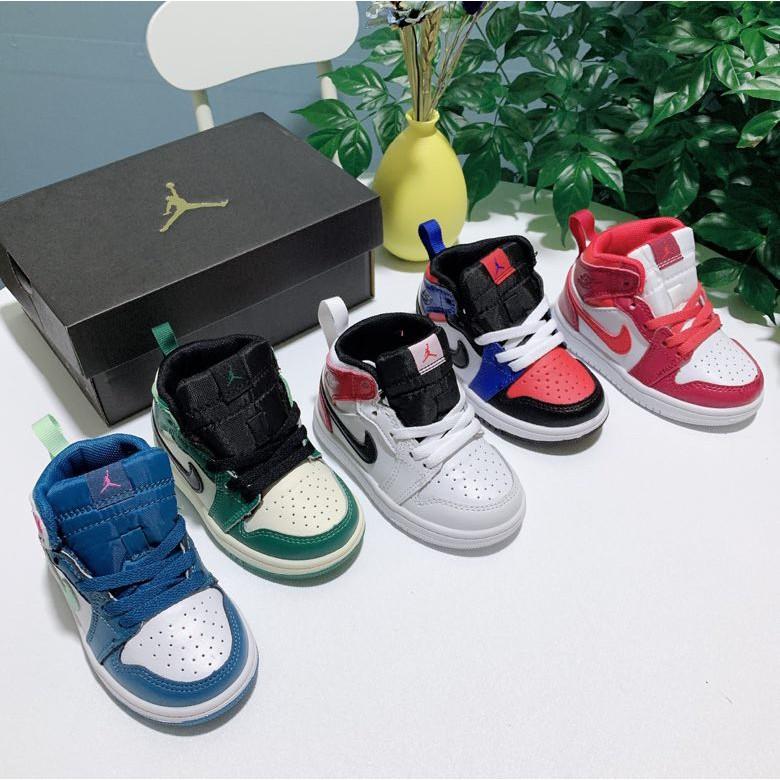 *Ready Stock* Nike Air Jordan 1 High Black Toe AJ1 Baby Shoes Basketball Shoes Kids Shoes
