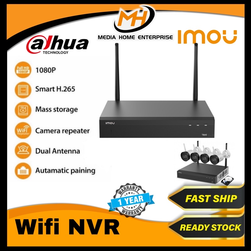 IMOU Wireless Recorder WIFI NVR (Vault Live 4/8ch) - 1080P, H.265,  Up to 8TB, Auto Pairing, Camera Repeater