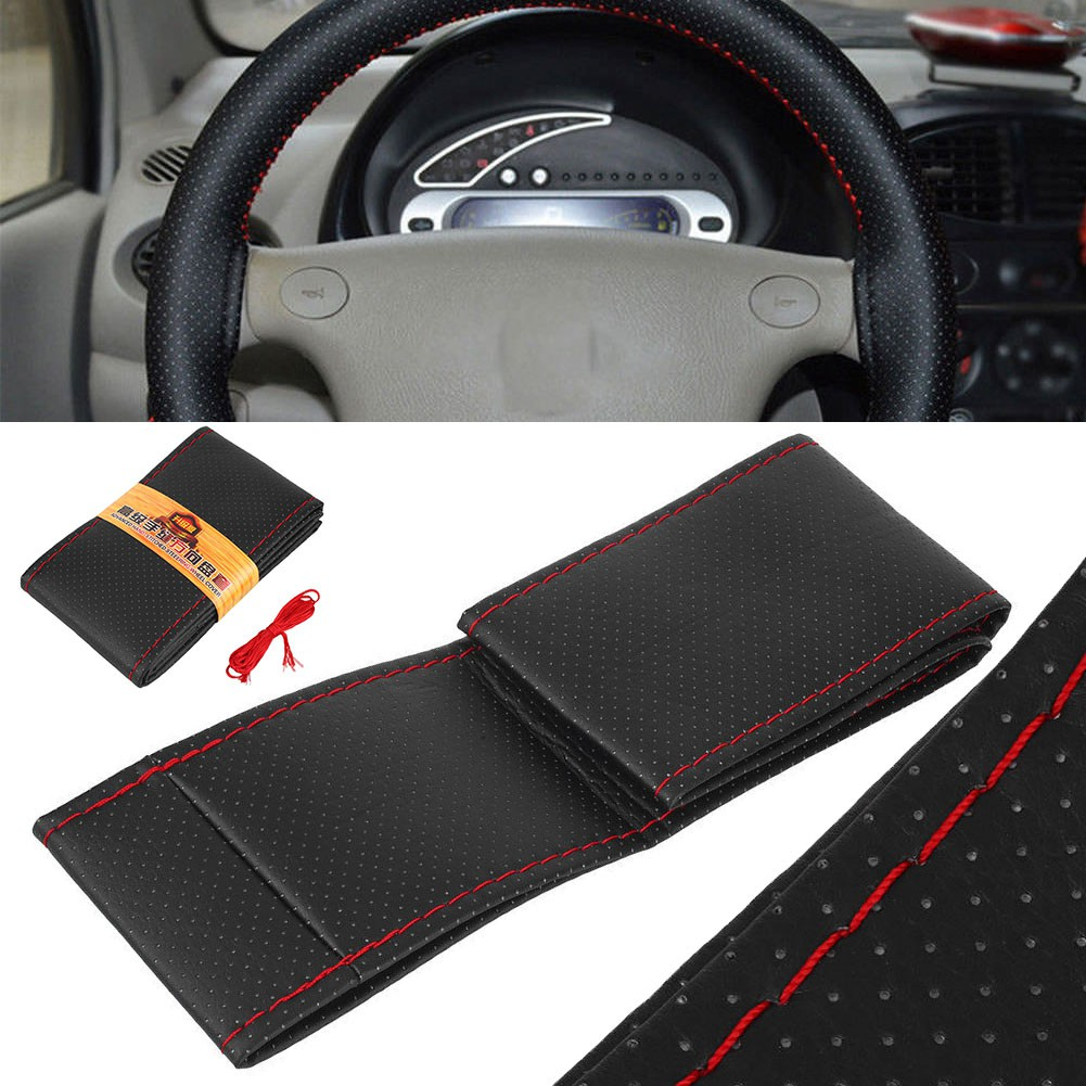 Soft Leather Cowhide Car 38cm Steering Wheel Cover Hand Sewing DIY Kit with line