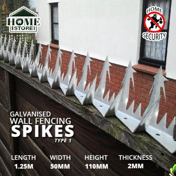 Home Store Galvanised Security Wall Fencing Spikes Type 1 1.25M (L) x 50MM (W) x 110MM (H) x 2MM (T)