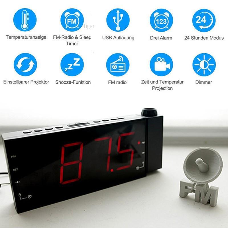 NEW Snooze Alarm Clock Dimmer Timer Backlight Projector FM Radio USB Projection