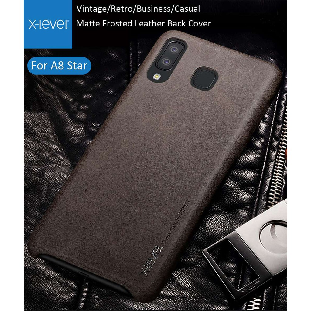 Samsung Galaxy A8 Star Casing X-level Vintage Leather Cases Soft Back cover