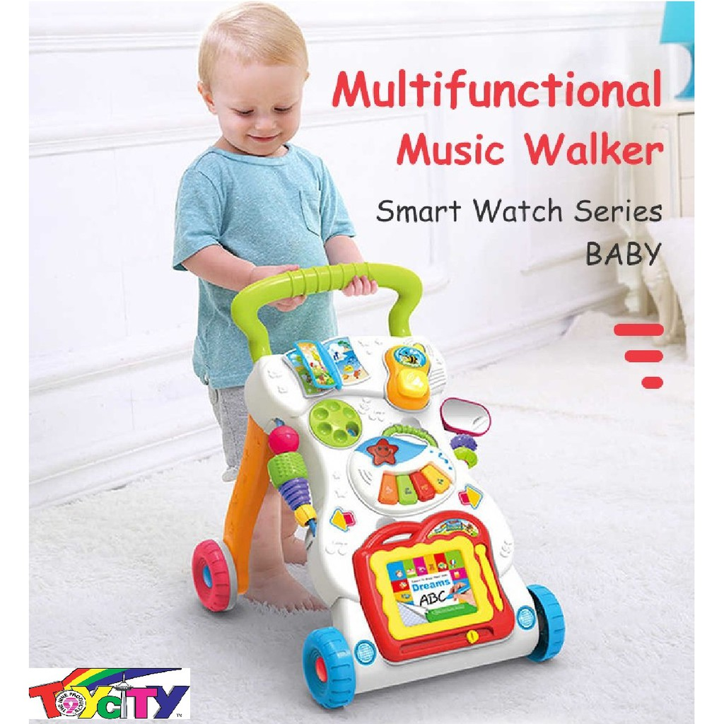 MULTI FUNCTION  BABY LEARNING PUSH WALKER TROLLEY EARLY LEARNING EDUCATIONAL WITH MINI  MUSIC PIANO AND WRITING BOARD