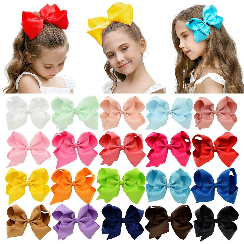 """6/"""" 8/"""" Inch Cute Girls Hair Bows Grosgrain Ribbon Knot Large With Clip"""