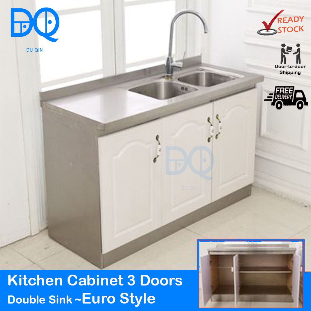 Ready Stock Kitchen Cabinet Stainless Steel 3 Doors With Double Sink Euro Style Shopee Malaysia