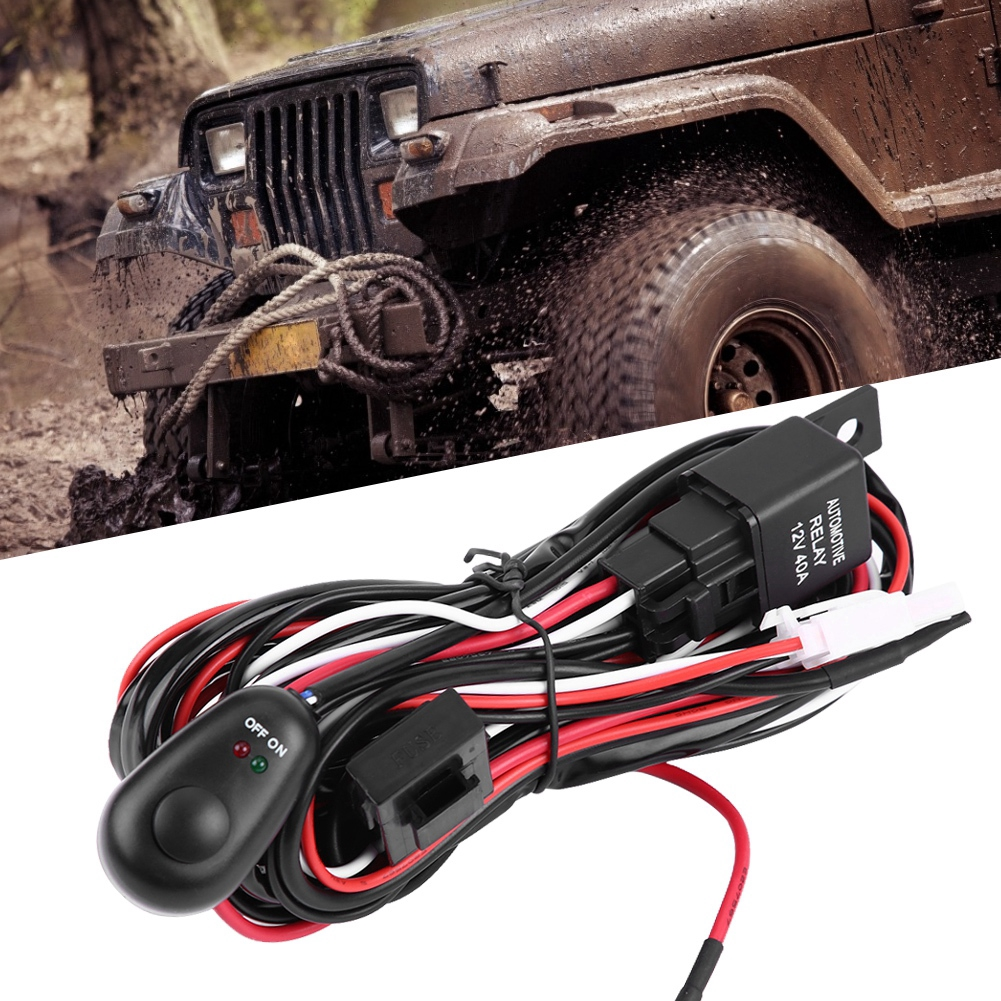 Car Wiring Harness,ABS 9-16V Car Power Switch and Wiring Harness Kit for LED Light Bar #2