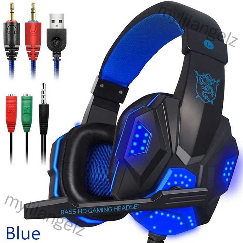 Mylilangelz Over Ear Gaming Headset with Mic and LED Light for Laptop Cellphone PS4