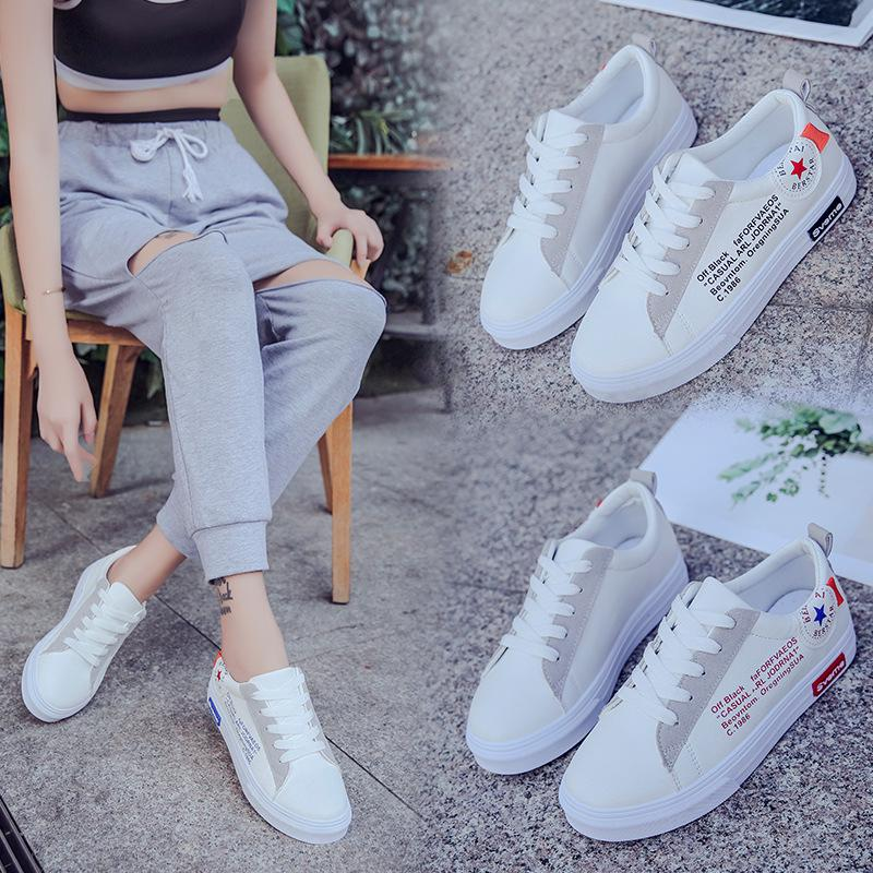 Simple leather women casual white shoes women spring 2018