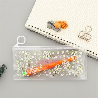 caf71b4b55c8 1 PCS Transparent Cartoon Pencil Case Zipper Portable Stationery Bag ...