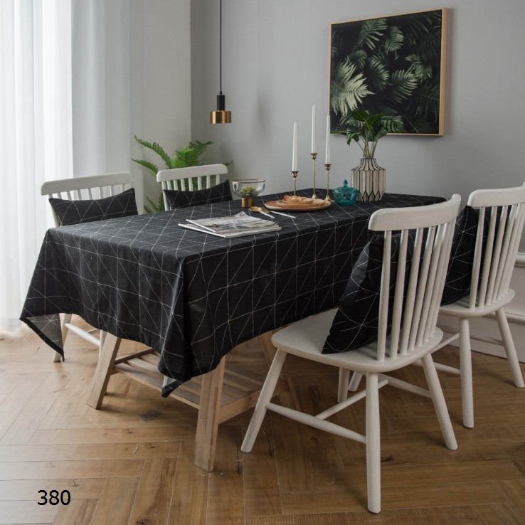 Design Interior Rumah Minimalis Type 38  modern simple table cloth black and white geometric table cloth
