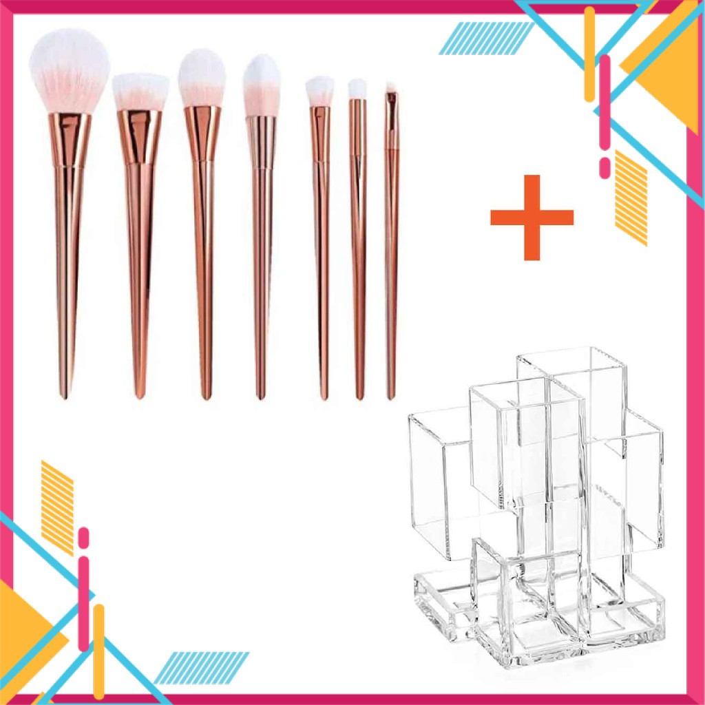 Rose Gold Professional Makeup Brush and Brush Organizer Set (7 Pcs)